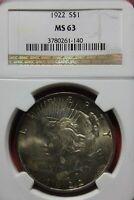 TONED 1922 P MINT STATE 63 PEACE SILVER DOLLAR NGC CERTIFIED GRADED CERTIFIED OCE408