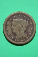1847 BRAIDED HAIR LARGE CENT EXACT COIN PICTURED FLAT RATE SHIPPING OCE390