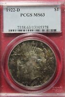 TONED 1922 D MINT STATE 63 PEACE SILVER DOLLAR PCGS CERTIFIED GRADED CERTIFIED OCE415