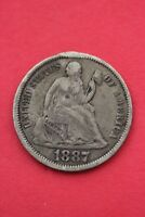 1887 P SEATED LIBERTY DIME EXACT COIN PICTURED FLAT RATE SHIPPING OCE048