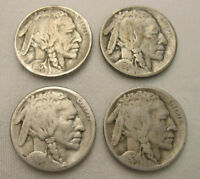 LOT OF 4  DATE BUFFALO NICKELS 1913 P T1 1914 P 1921 S 1924 D FREE SHIP