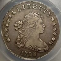 1798 DRAPED BUST SILVER DOLLAR, SHARP EF DETAILS, DISCOUNTED ANACS CERTIFIED