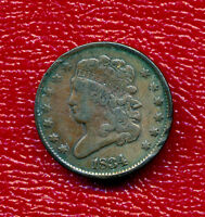 1834 CLASSIC HEAD HALF CENT   LIGHTLY CIRCULATED SHIPS FREE