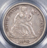 1873 OPEN-3 10C NO ARROWS - SEATED LIBERTY DIME - F-106 - PCGS GRADED EXTRA FINE 40,
