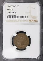 1867 DDO 2C TWO CENT PIECE NGC AU53 BN FS-101 DOUBLED DIE OBVERSE - PROBLEM FREE