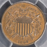 1864 SMALL MOTTO TWO CENT PIECE PCGS MINT STATE 63 RB - RED AND BROWN