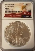 2017 SILVER EAGLE - MS 70 - NGC - FIRST RELEASES - AMERICAN EAGLE NGC LABEL 448