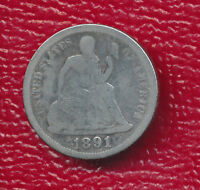 1891 SEATED LIBERTY SILVER DIME FINAL YEAR STRUCK SHIPS FREE