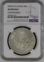1912 JAPAN MEIJI  YR 45  DRAGON 1 ONE YEN SILVER COIN NGC AU DETAILS CHOPMARKED