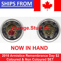 2018 CANADA ARMISTICE $2 COLOURED & NO COLOR TOONIE POPPY UNC BU SET FROM ROLL