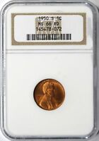 1950-S LINCOLN WHEAT CENT 1C NGC MINT STATE 66 RD
