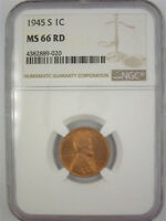 1945-S LINCOLN CENT NGC MINT STATE 66RD