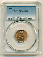 1954 LINCOLN WHEAT CENT MINT STATE 65 RED PCGS