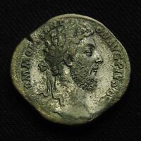 SESTERTIUS EMPEROR COMMODUS RV VICTORY SEATED VICT BRIT 30 2MM 26.34 GR AD 185