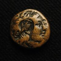 AEOLIS AEGAE AE18 LAUREATE HEAD OF APOLLO 2ND CENT BC   COUNTERMARKED 3.87 GRAMS