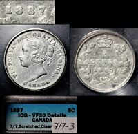 XMAS   5 CENT VARIETY 1887 REPUNCHED 7 RT OVER LT   VF30  L012C