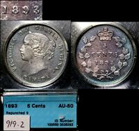 XMAS   5 CENT VARIETY 1893   REPUNCHED 9   FANTASTIC RT OVER LT AU50  L019C