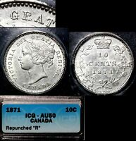 XMAS   10 CENT VARIETY 1871 REPUNCHED R IN GRATIA 30 DEGREES CCW AU50  L039