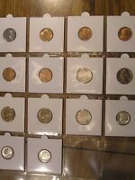 14 BU UNCIRCULATED COINS  ALL 1940'S  1943 GEM CENT 1943-S SILVER NICKEL DIMES