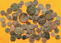LOT OF 100 MEDIEVAL SILVERED AND BRONZE COINS 12   17. CENTU