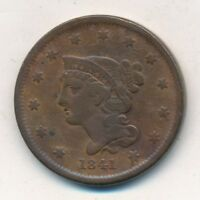 1841 BRAIDED HAIR LARGE CENT-  CIRCULATED LARGE CENT-SHIPS FREE INV:2