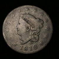 1818 CORONET HEAD LARGE CENT, PENNY, LOT 10C15