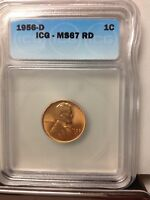 1956-D ICG MINT STATE 67 RD LINCOLN WHEAT CENT