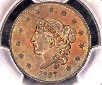 1837 HEAD OF 1838 LARGE CENT 1C >>> INCREDIBLE TONING >>> PCGS UNC OLD CLEAN