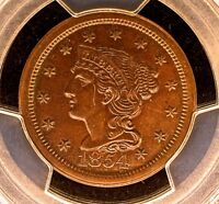1854 BRAIDED HAIR LARGE CENT 1C >>>>> MINT STATE 64 PCGS >>>>> SHARP CHOICE UNC COPPER