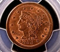 1853 BRAIDED HAIR CENT 1C >>>>>> MINT STATE 64RB PCGS >>>> PRISTINE FIELDS, GREAT COLOR