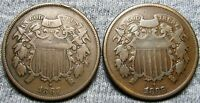 1867  1868 TWO CENT PIECES 2CPS ---  LOT --- I092