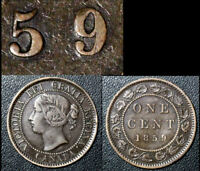 BLACK FRIDAY SALE   CANADA CENT   1859 DOUBLE PUNCHED 9 HAXBY E12 VF    BF33