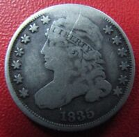 USA SILVER COIN DIME 10 CENTS, KM48  F  1835 CAPPED BUST