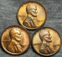 1937 1937-S 1939 LINCOLN WHEAT CENTS --- GEM BUCOND LOT --- I560