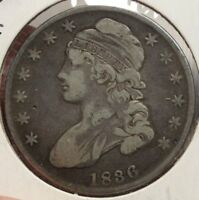 1836 CAPPED BUST HALF DOLLAR, CHOICE ORIGINAL TYPE COIN  1111-14