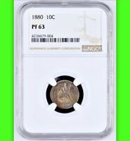 1880 NGC PR63 MINTAGE 36 000   1 355 PROOF 2ND LOWEST 1880 2018 SEATED DIME 10C