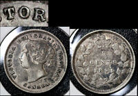 JANUARY SALE   CANADA 5 CENTS   1891 REPUNCHED O   EF  BFA331