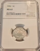 1882 5C NGC MS 62 SHIELD NICKEL SHARP LOOKING UNCIRCULATED T