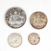 1910 THREEPENCE   FLORIN SILVER AUSTRALIAN COIN SET 8 PEARLS