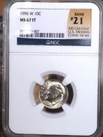 1996 W ROOSEVELT DIME NGC MS 67 FT