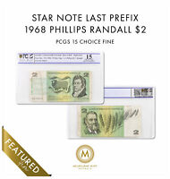 LAST PREFIX 1968 AUSTRALIA $2 NOTE PHILLIPS/RANDALL STAR NOT