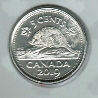 2019 5 CENTS TAKEN FROM AN O'CANADA  PROOFLIKE SET NICE COIN