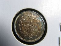 5 CENTS 1875 LARGE DATE CANADA SILVER COIN QUEEN VICTORIA C  LD