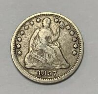 1857 SEATED LIBERTY HALF DIME SILVER COIN 5C