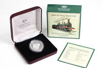 2004 RAM $5 SILVER PROOF COIN   150 YEARS OF STEAM RAILWAYS