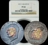 1971 S EISENHOWER SILVER DOLLAR NGC PF 66 BLUE/PURPLE/GOLD MONSTER TARGET TONED