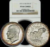 1971 S EISENHOWER SILVER DOLLAR NGC PF66 CAMEO BLUE & ORANGE CIRCULAR TONED IKE