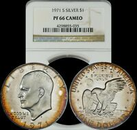 1971 S EISENHOWER SILVER DOLLAR NGC PF66 CAMEO ORANGE CIRCULAR RIM TONED