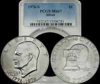 1976-S EISENHOWER SILVER DOLLAR IKE PCGS MINT STATE 67 LIGHTLY TONED