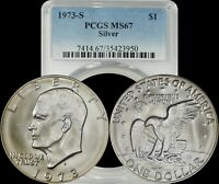 1973-S EISENHOWER SILVER DOLLAR IKE PCGS MINT STATE 67 LIGHTLY TONED